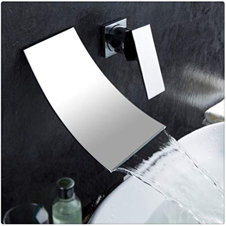 Waschtischarmatur Für Bad Moderne Einhand-Wandmontierte Wasserfall-Wasserhahn Für Badezimmer, Chrom Poliert