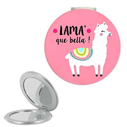 Les Trésors De Lily [Q0865] - Miroir de poche 'Lama Mania' rose (Lama' que bella !) - 6 cm