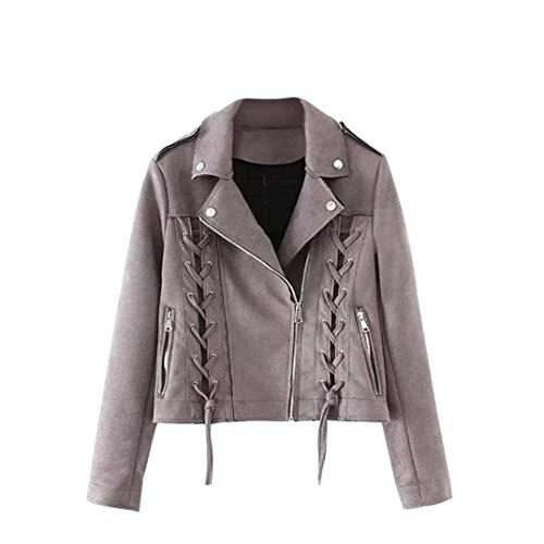 Korte mantel dames suède winter coat kruisriem met rits zijzakken lange mouwen revers jongen chic young mode outwear outwear