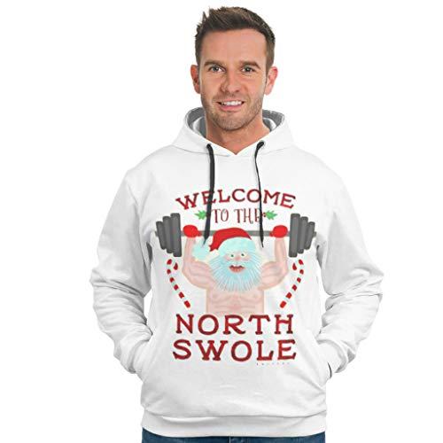 Dogedou Herren Unisex Hoodie Sweatshirt Santa Claus Gewichtheben Slim Fit Pullover Für Mädchen White 2XL