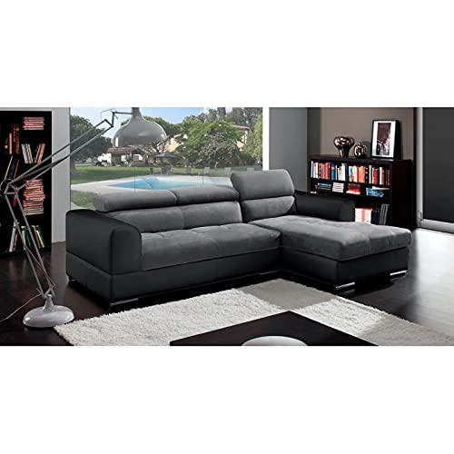 Canapé d'angle 4 places Noir Simili Contemporain Confort