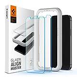Spigen 【2枚入】 iPhone 12 Mini ガラスフィルム 5.4 インチ 【ガイド枠付き】 日本旭硝子製 強化ガラス 液晶保護フィルム iPhone12 Mini フィルム 【AlignMaster】
