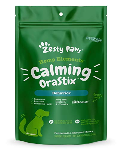 Calming Dental Sticks for Dogs - Stress & Anxiety Relief with Hemp, Melatonin & Chamomile - Dog Tartar Teeth Cleaning & Breath Freshener - Composure for Fireworks, Thunderstorms & Barking - 12 OZ
