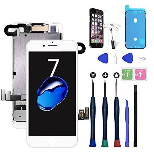 """Xlhama Conjunto de pantalla táctil LCD de 4.7 """"para iPhone 7 blanco con sensor de proximidad, auricular, cámara frontal y kit de reparación Reparación de ensamblaje completo blanco"""