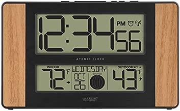 La Crosse Technology 513-1417 Atomic Digital Clock with Outdoor Temperature, Oak, 0