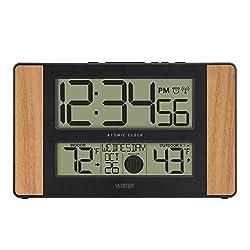 La Crosse Technology Atomic Digital Clock with Outdoor Temperature, Oak, 0