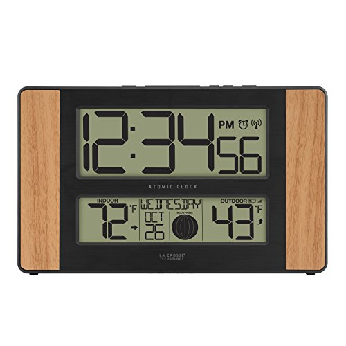 La Crosse Technology Atomic Digital Clock with Outdoor Temperature, Oak, 0