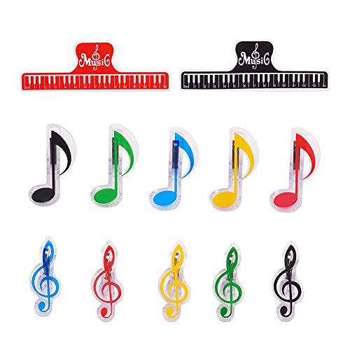 PandaHall 12 stücke 3 Arten Music Note Clips Musik Buch Musik Seitenhalter Kunststoff Musik Stationäre Memo Nachricht Clips für Notizen Schreibwaren Dateien Archiv Ordner