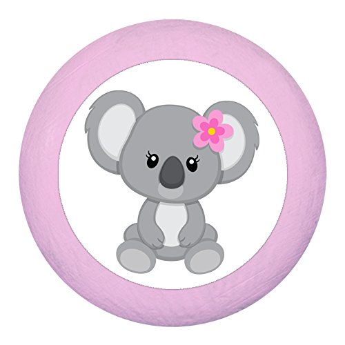 "Schrankknauf""Koalamädchen Koala Blume"" hellrosa rosa zartrosa pastell Holz Buche Kinder Kinderzimmer 1 Stück wilde Tiere Zootiere Dschungeltiere Traum Kind"