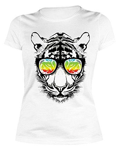 Damen T-Shirt mit buntem Motiv: Retro Tiger mit Sonnenbrille - Sexy Girlie Shirt - Geschenk zum Geburtstag - Damen Oberteil - weiss