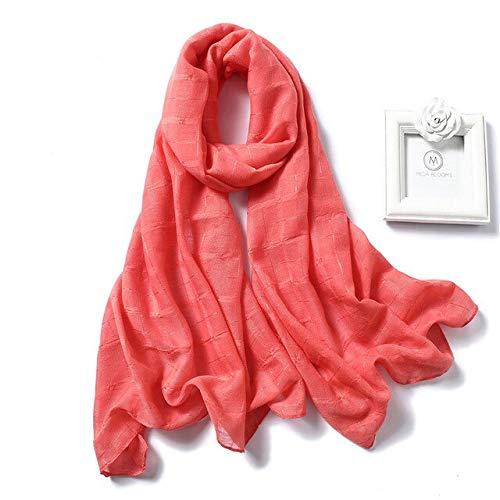 WEIYIM Echarpe Coton De Haute Qualité Femmes Écharpe Dames Automne Solide Doux Écharpes De Hijab Femelle Rose Longue Enveloppe 180 Cm