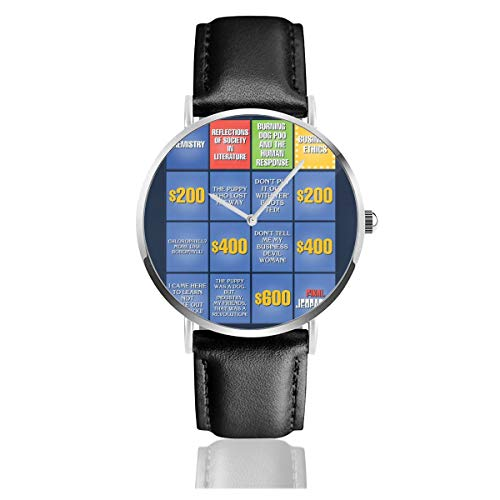 Unisex Business Casual Billy Madison Jeopardy Board Quotes Uhren Quarz Leder Uhr mit schwarzem Lederband für Männer Frauen Junge Kollektion Geschenk