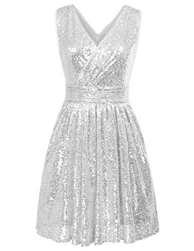Damen Ballkleid Abiballkleid Swing Kleid Abendkleid Abendkleider für Hochzeit Silber 38