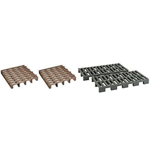 Belca CP-2 Joint Palette, 2 Pieces, Width 20.3 x Depth 20.3 x Height 2.8 inches (51.7 x 51.6 x 7.1 cm), Eco Brown, Moisture Prevention, Made in Japan, JP-BR2 & Slatted Panel, 2 Pieces, Width 14.9 x Height 2.8 inches (37.1 cm), Eco Green, Mold Prevention, Moisture Prevention, Made in Japan