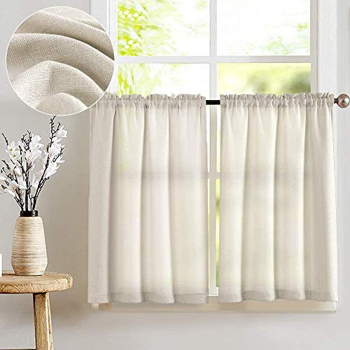 JINCHAN Kitchen Curtains for Living Room Semi Sheer Short Curtains Casual Weave Cafe Curtains 36 Inch Length Half Window Treatments Tier Curtains 2 Panels Beige