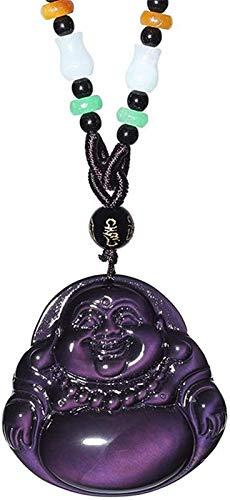 Collar de Feng Shui de Ojo de arcoíris Natural Tallado Colgante de Buda Amuleto de Buda Que atrae la Riqueza Dinero Amor suéter Cadena Hombre/Mujer