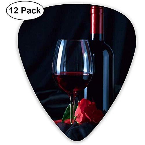 Rode wijnglazen Gitaar Pick Set Gitaar Bas Mandolin Ukulele 0.46mm 0.71mm 0.96mm 12 Pack Gitaar Picks Plectrums Picks Houder
