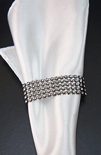 Angel Isabella 10pcs Set: Simply Elegance Bling Napkin Ring/Holder/Chair Sash Decor - Silver Black