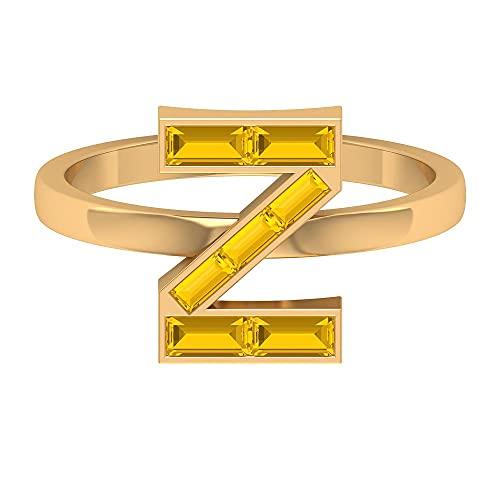 Anillo con letra Z de zafiro amarillo creado con 1 CT, para mujer (calidad AAAA), 14K Oro amarillo, Size:EU 68