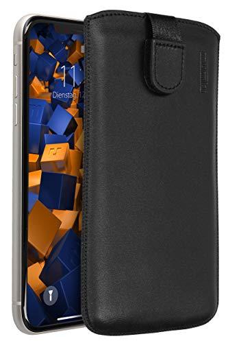 mumbi Echt Ledertasche kompatibel mit iPhone 11 Hülle Leder Tasche Hülle Wallet, schwarz