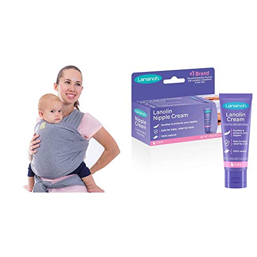 KeaBabies Baby Wrap Carrier, 2 Colors, One Size Fits All, Grey & Lansinoh Lanolin Nipple Cream for Breastfeeding, 1.41 Ounces