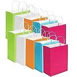 40 pièces Sacs Papier Cadeau de fête Sacs Cadeau Kraft Sac Traiter Sac en Papier avec poignée pour Anniversaire, thé, célébrations de Mariage et fête, Multicolore
