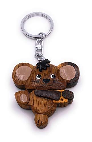 H-Customs Süße Maus mit Käse Stück Holz Edel Handmade Schlüsselanhänger Anhänger