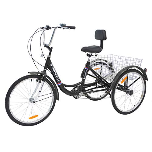 Barbella Adult Tricycle, 24-Inch 7 Speed Three-Wheeled Cruise Bike with Large Size Basket for Recreation, Shopping, Exercise Men's Women's Bike (7 Speed Black)