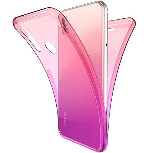Coque Huawei P20 Lite,ikasus Intégral 360 Degres avant + arrière Full Body Protection Couleur de dégradé Transparente Silicone Gel TPU Souple Housse Etui Case Coque pour Huawei P20 Lite,Rose Violet