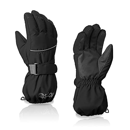 Durio Kids Snow Gloves for Girls Boys Snow Gloves Waterproof Winter Gloves for Kids Ski Gloves Black 11-14 Years