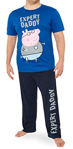 Peppa Pig Pijama Hombre Verano, Pijamas de 2 Piezas, Regalos para Hombre (Gris, M)