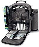 CROSSROAD Picknickrucksack mit Decke und Geshirrsets für 2 Personen, 19 L Kühltasche, Grau