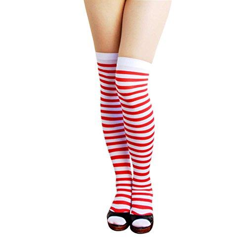 Oblique-Unique® Sexy Strumpfhose -halterlos- Overknee Strümpfe - Party Kostüm Fasching Karneval (Overknee Ringel Weiss/rot)