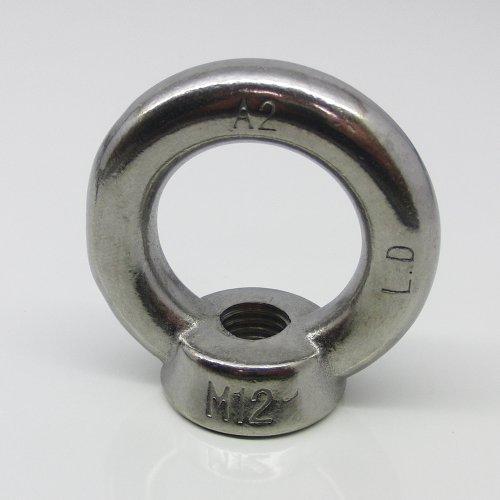 1 Stück Ringmutter M12 gegossen u. poliert ähnl. DIN 582 Edelstahl A2