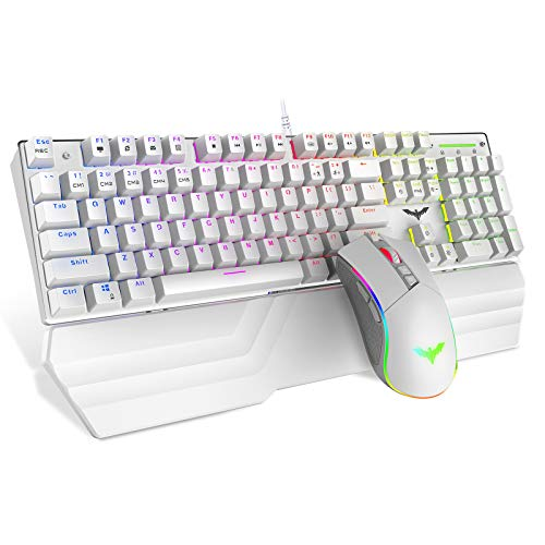 Havit Mechanical Keyboard and Mouse Combo RGB Gaming 104 Keys Blue Switches Wired USB Keyboards with Detachable Wrist Rest, Programmable Gaming Mouse for PC Gamer Computer Desktop (White)