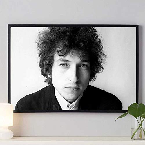 Banda de música rock Cantante estrella Guitarrista Bob Dylan Fumando Negro Blanco Fotos HD Lienzo Pintura Arte de la pared Póster Dormitorio Bar Studio Club Decoración para el hogar Mural