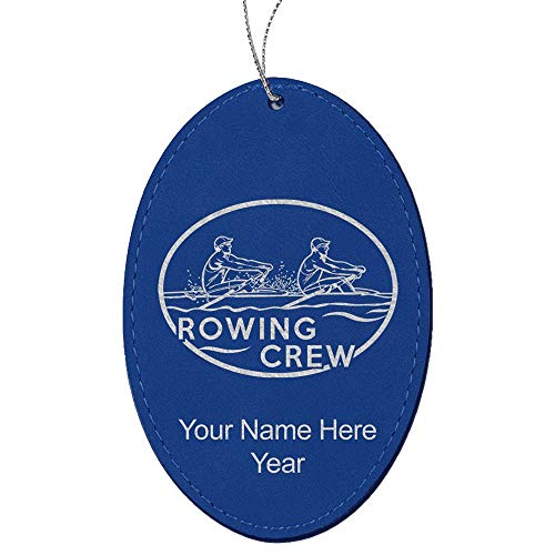 LaserGram Faux Leather Christmas Ornament, Rowing Crew, Personalized Engraving Included (Dark Blue, Oval)