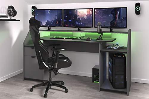 Gamer Tisch grau/schwarz B 180 cm Schreibtisch LED Beleuchtung/Farbwechsel inklusive Fernbedienung...