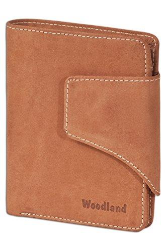 Woodland - Portafoglio universale moderna con grandi chiusura a scatto in morbido, pelle di bufalo trattata a Cognac
