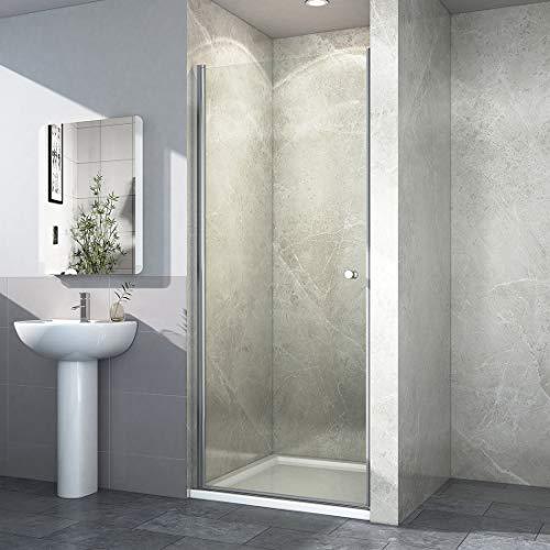 EMKE Nische Schwingtür Rahmenlos Duschabtrennung Duschkabine Echtglas Duschtür 90 x 185 cm