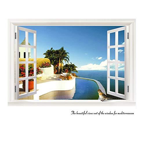 Sticker mural 3D imitation fenêtre avec vue sur la fenêtre - Décoration murale amovible en PVC - Pour chambre à coucher, cuisine, chambre à coucher (paysage de l'océan)
