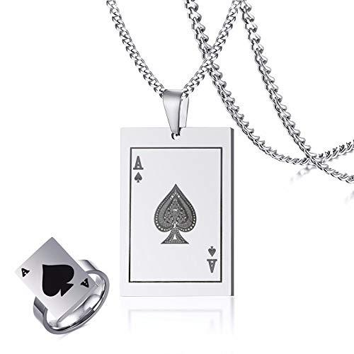 DTKJ Mens Asso di Picche Dog Tag Collana Anello Set Tono Argento Ciondolo Poker per Uomo Casinò in Acciaio Carte da Gioco Gioielli Maschili