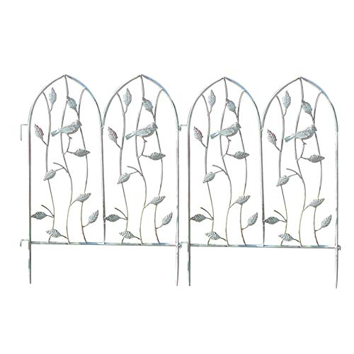 SHENXINCI Enrejado Metálico para Jardín Estilo Antiguo Retro, Soporte para Trepadoras,Decorado con Pájaros,Juego de 2 Piezas Rejilla de Metal,18'' X 24.6''