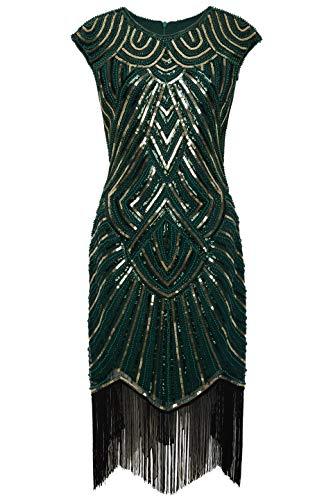 BABEYOND Damen Kleid voller Pailletten 20er Stil Runder Ausschnitt Inspiriert von Great Gatsby Kostüm Kleid (Dunkelgrün Gold, S (Fits 74-80 cm Waist))