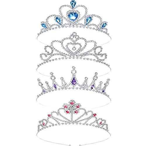 4 Coronas de Diamantes de Imitación Plateada para Niñas Tiara de Cristal...