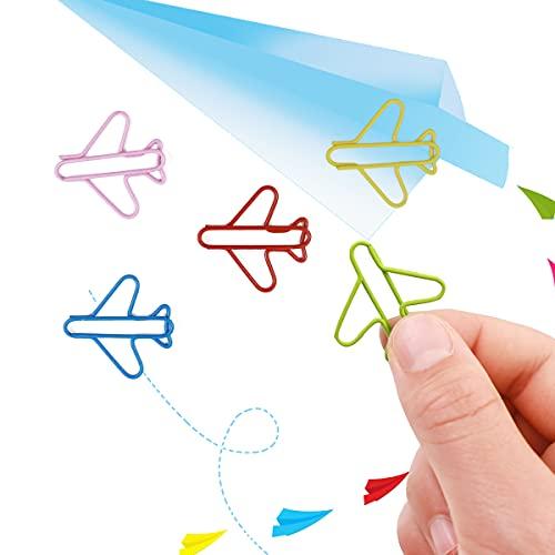 Beacil 60 clips con forma de avión con cajas transparentes multicolores con clip rojo, rosa, azul, verde, amarillo, bellos clips de papel marcapáginas (avión)