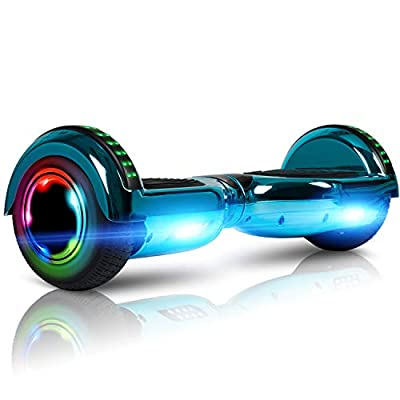 "LIEAGLE Hoverboard with Bluetooth, 6.5"" Self Balancing Scooter Hover Board for Kids Adults with UL2272 Certified Wheels LED Lights and Free Carry Bag(Chrome Light Blue)"
