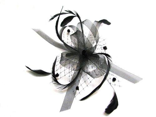 Noir plume et nœud en filet renforcé& sur un peigne à cheveux clair comb. Idéal pour les mariages.