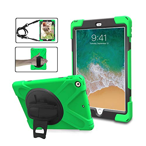 TSQ iPad 9.7 Rugged Protective Case with Strap for Kids Girls Boys, Heavy Duty Hard Durable Defender Drop Kids Shock Proof Case with Rotation Stand,Handle Hand Strap Grip& Neck Shoulder Strap Green