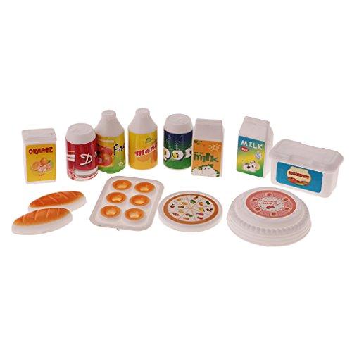 Gazechimp 12 Stück mini Lebensmittel Set Küche Zubehör für Barbie Kelly Puppen Kinder Spielzeug